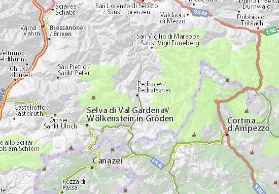 Trentino Alto Adige Cartina Geografica Fisica.Mappa Michelin Alta Badia Pinatina Di Alta Badia Viamichelin