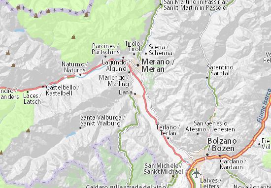 Karte Stadtplan Lana