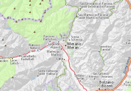karte meran Karte, Stadtplan Meran   ViaMichelin