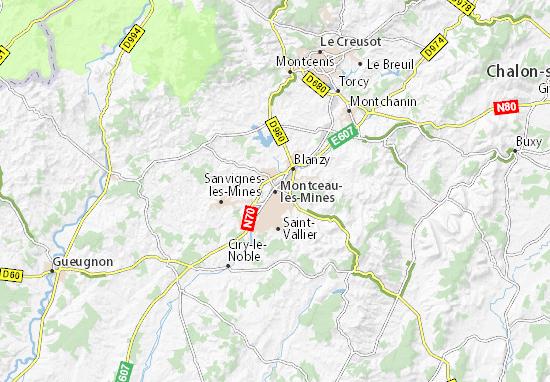 Karte Stadtplan Montceau-les-Mines