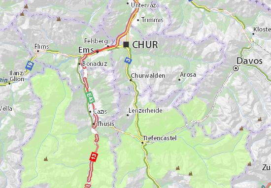 Map Of Lenzerheidepass Michelin Lenzerheidepass Map ViaMichelin - Chur map