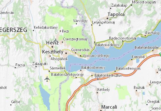 Vonyarcvashegy Map