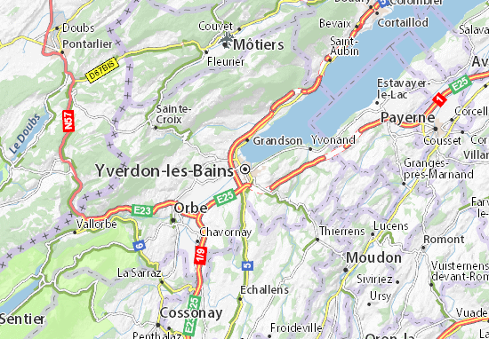 Yverdon les bains map detailed maps for the city of for Location yverdon les bains suisse