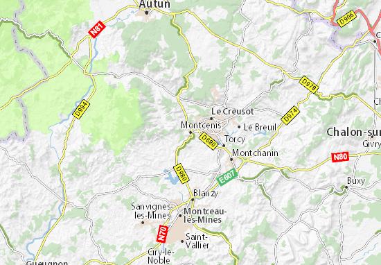 Carte-Plan Montcenis
