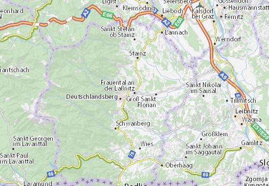 Karte Stadtplan Frauental an der Laßnitz
