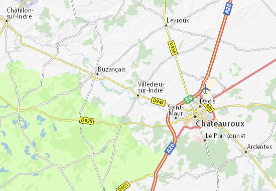 Kaart Plattegrond Villedieu-sur-Indre