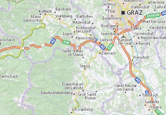 Karte Stadtplan Sankt Stefan ob Stainz
