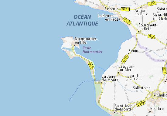 carte ile de noirmoutier Map of Île de Noirmoutier   Michelin Île de Noirmoutier map