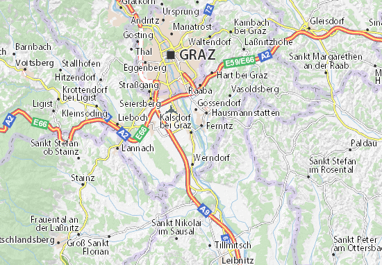 Karte Stadtplan Kalsdorf bei Graz