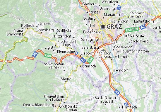 Map Of Lieboch Michelin Lieboch Map ViaMichelin - Graz austria map
