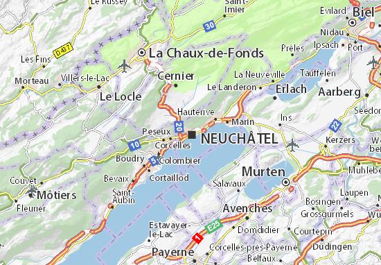 Karte Stadtplan Neuchâtel
