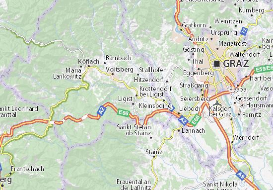 Karte Stadtplan Krottendorf bei Ligist