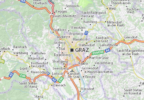 karta graz Map of Graz   Michelin Graz map   ViaMichelin karta graz