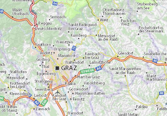 Karte Graz.Karte Stadtplan Kainbach Bei Graz Viamichelin