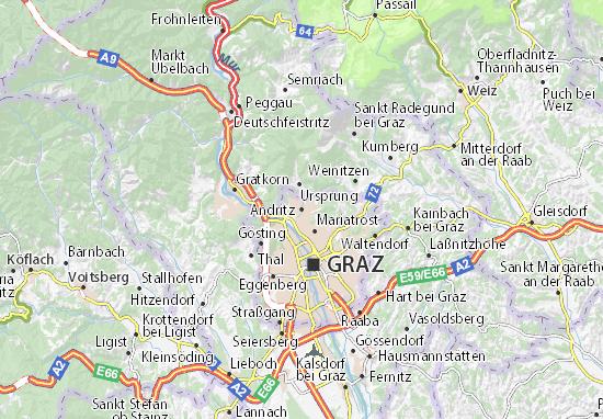 Karte Graz.Karte Stadtplan Andritz Viamichelin