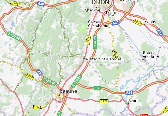Karte Stadtplan Nuits-Saint-Georges