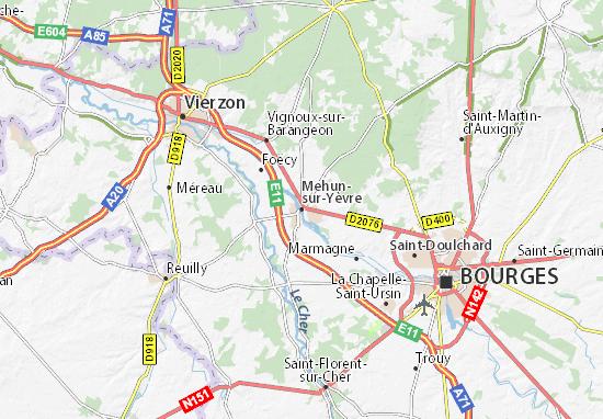 Kaart Plattegrond Mehun-sur-Yèvre