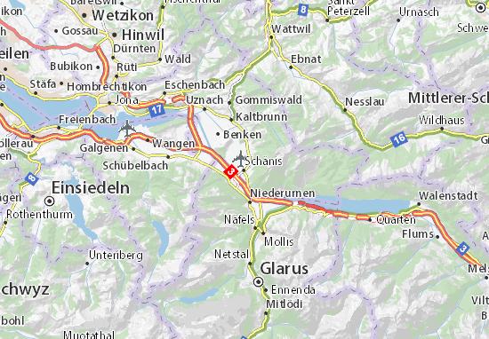 Karte Stadtplan Schänis