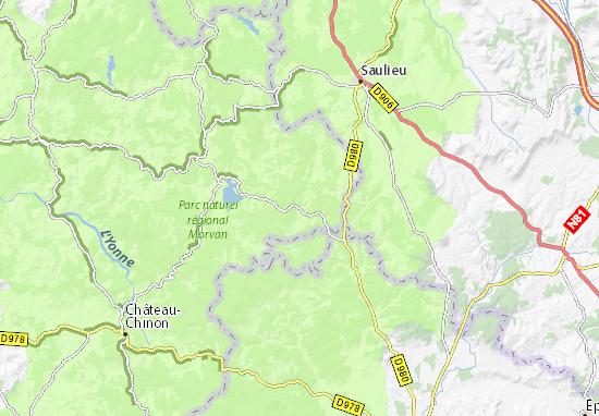 Kaart Plattegrond Moux-en-Morvan