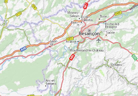Kaart Plattegrond Montferrand-le-Château