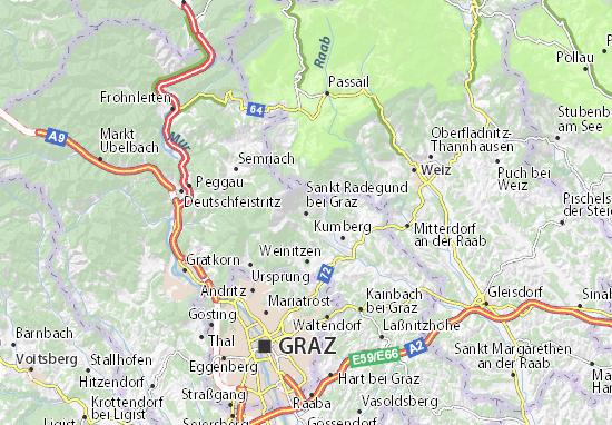 Karte Stadtplan Sankt Radegund bei Graz