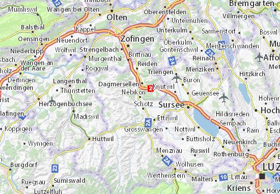 Karte Stadtplan Nebikon