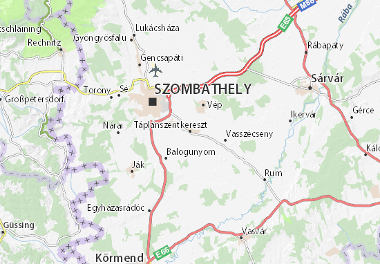 Táplánszentkereszt Map