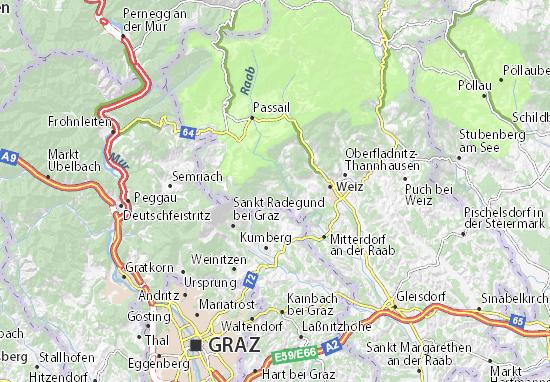 Karte Stadtplan Gutenberg an der Raabklamm