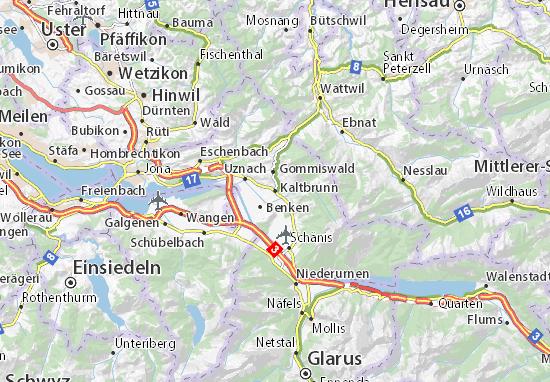 Karte Stadtplan Kaltbrunn