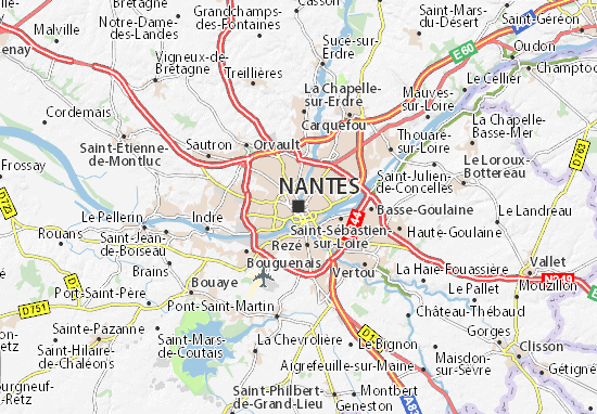 nantes karta Map of Nantes   Michelin Nantes map   ViaMichelin nantes karta