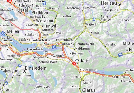 Karte Stadtplan Uznach