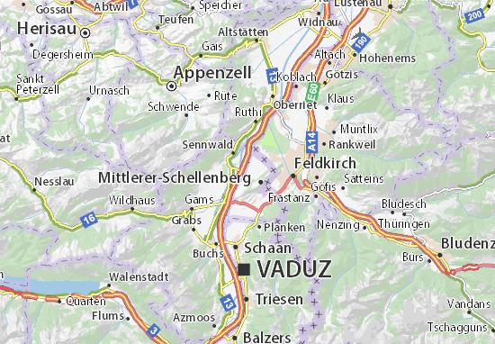 Karte Stadtplan Ruggell