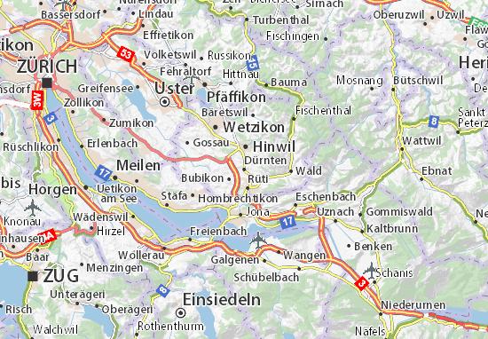 Karte Stadtplan Dürnten