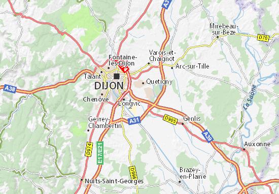 Kaart Plattegrond Sennecey-lès-Dijon