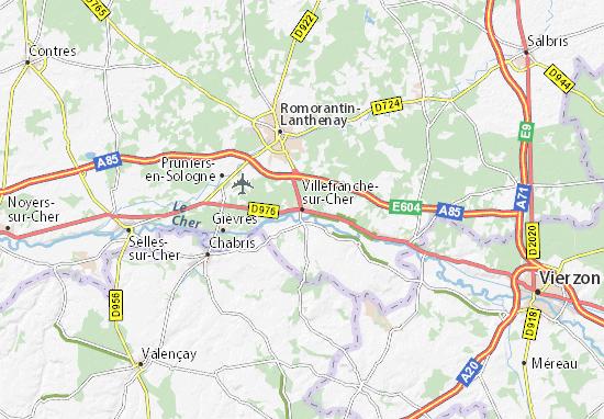 Kaart Plattegrond Villefranche-sur-Cher