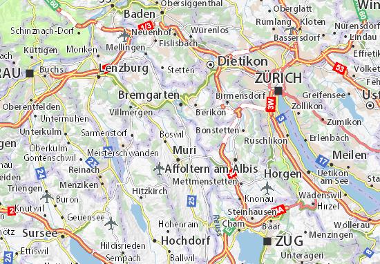 8919 Rottenschwil Mail: Karte, Stadtplan Rottenschwil
