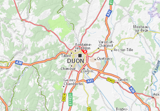 Map of Dijon - Michelin Dijon map - ViaMichelin