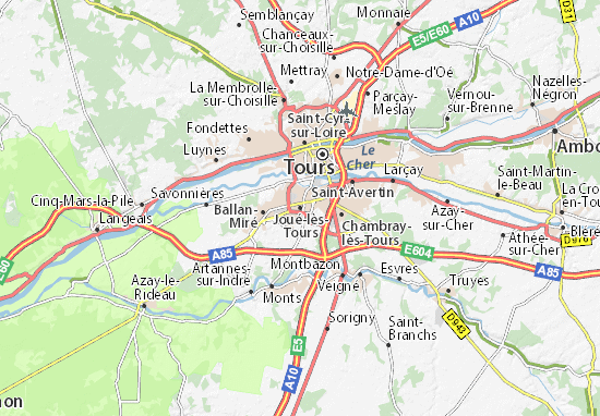 Carte d taill e jou l s tours plan jou l s tours for Location garage joue les tours