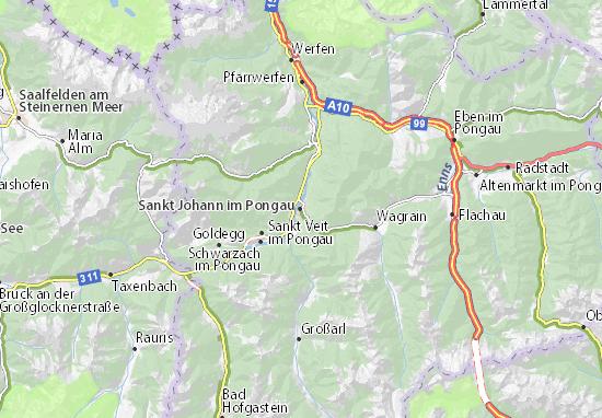 Karte Stadtplan Sankt Johann im Pongau