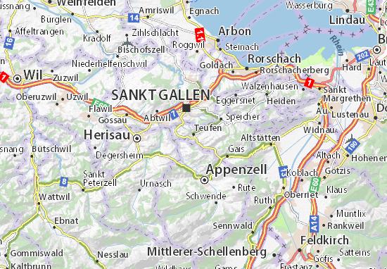 Karte Stadtplan Teufen