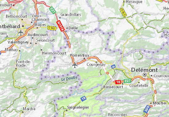 Karte Stadtplan Porrentruy