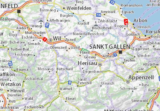Karte Stadtplan Flawil