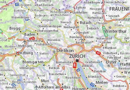 Karte Stadtplan Regensdorf
