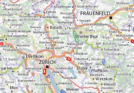 Kaart Plattegrond Nürensdorf
