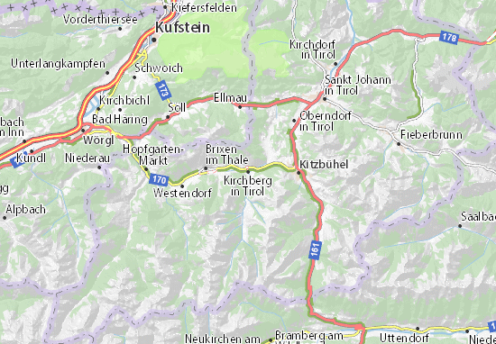Karte Stadtplan Kirchberg in Tirol