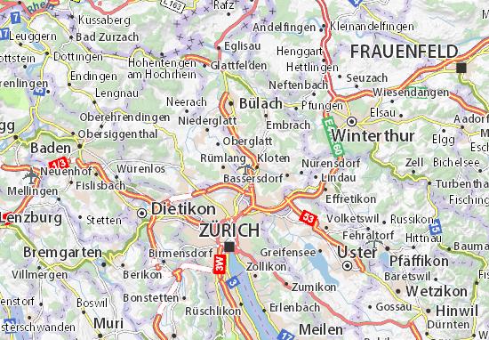 Map of Aéroport Zurich-Kloten - Michelin Aéroport Zurich-Kloten map Zurich Map on