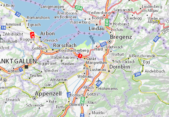 Karte Stadtplan Sankt Margrethen
