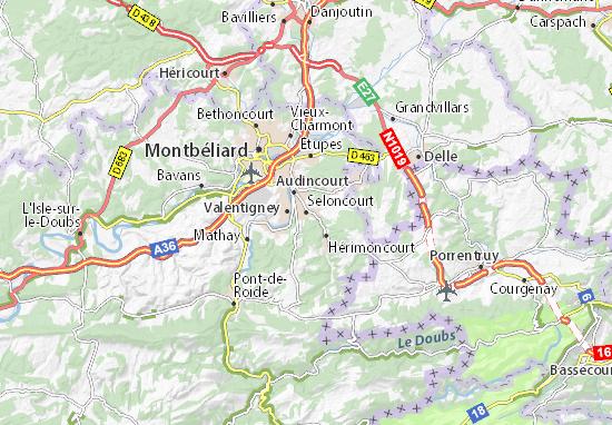 Karte Stadtplan Seloncourt