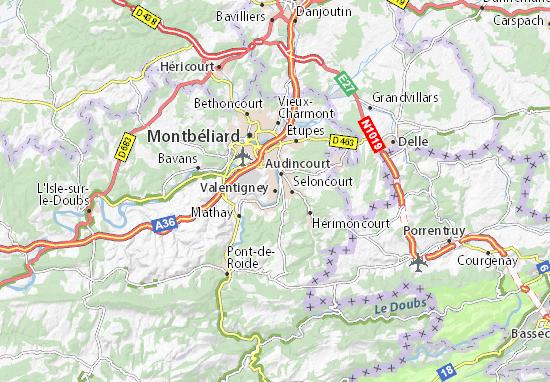 Karte Stadtplan Valentigney