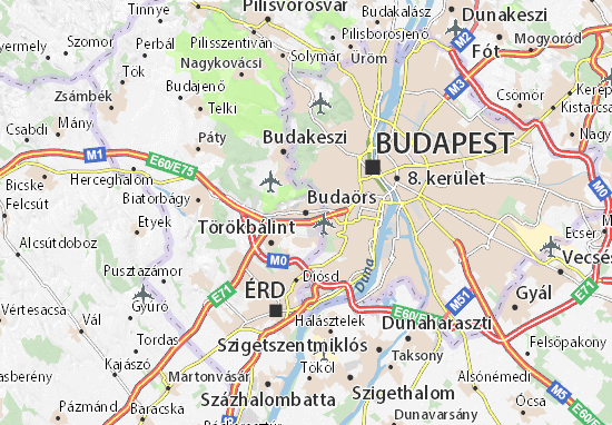 Karte Stadtplan Budaörs